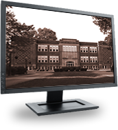 Computer monitor with Bethel University image