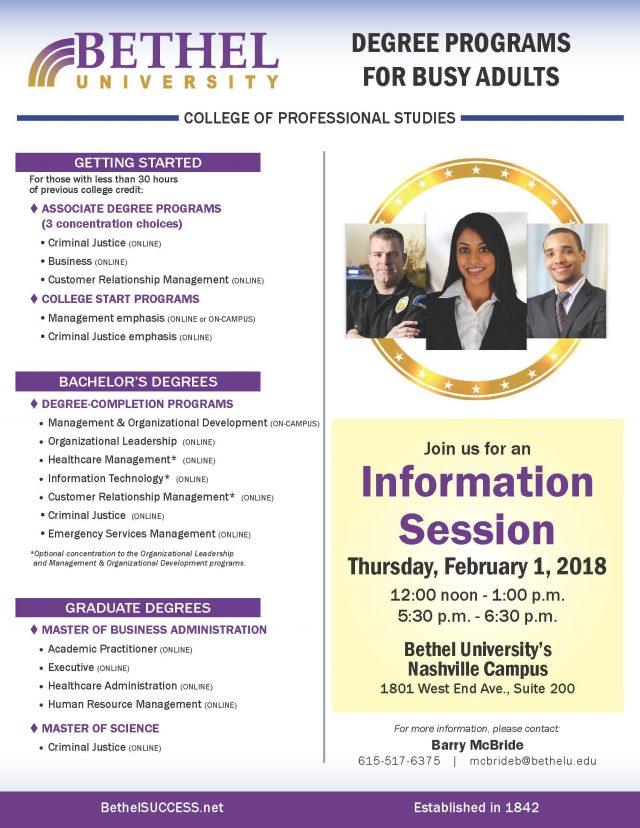 Bethel University Online >> Information Session Nashville Bethel University
