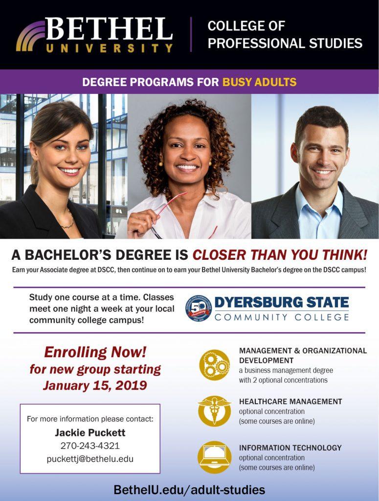Bethel University Online >> Bethel S Partnership With Dyersburg State Community College