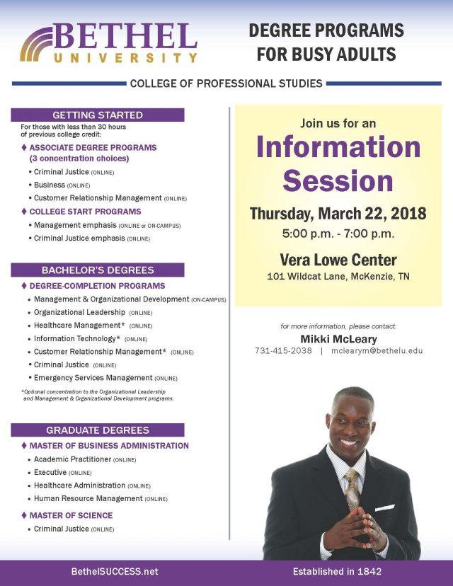 Bethel University Online >> Information Session Mckenzie Bethel University